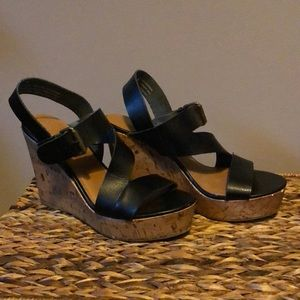 Mossimo Supply Black And Cork Wedges Size 8.5